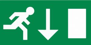 vluchtroute rechtdoor of naar beneden