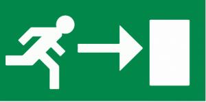 vluchtroute rechtsaf