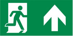 vluchtroute rechtdoor, naar boven, boven deuren en doorgangen en boven de finale uitgang