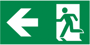 vluchtroute linksaf