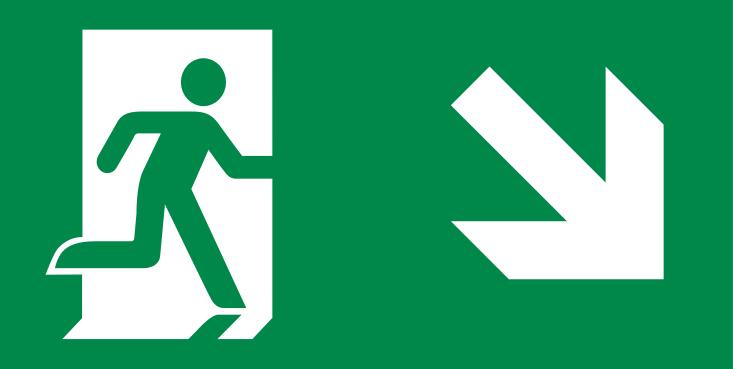 vluchtroute trap af rechts