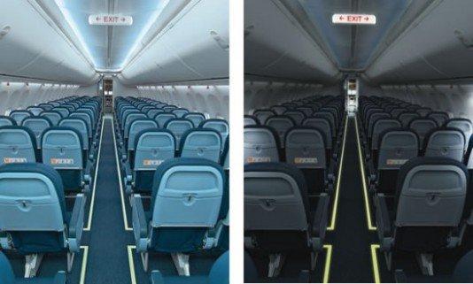 Toepassing van tritium verlichting in een vliegtuig